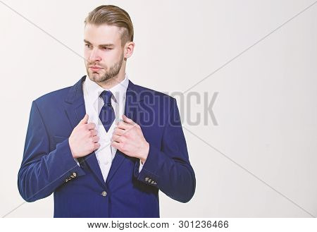 Bearded Businessman In Formal Suit. Successful Businessman Get Ready For Conference. Serious Motivat