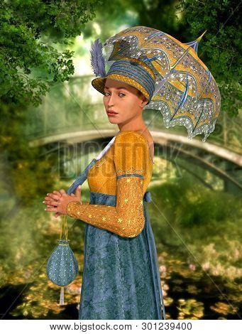 An Elegant Beautiful Jane Austen Style Woman Strolling Through A Park, Regency Dress, 3d Render