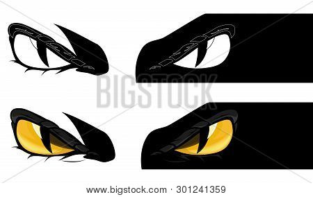 Evil Yellow Eyes Staring From Dark Shadow - Demon Monster Looking Intently Vector Design Set
