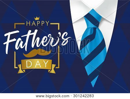 Happy Father`s Day Golden Lettering Banner. Fathers Day Vector Calligraphy On Navy Blue Suit Backgro