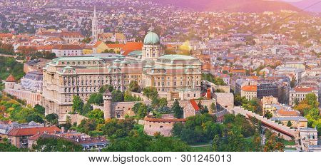 Budapest, Hungary. Beautiful Aerial View Of Historic Buda Castle Royal Palace And South Rondella At