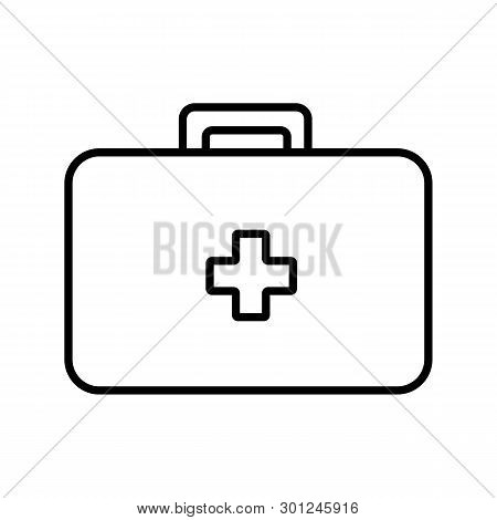 Medical Rectangular First-aid Kit With Medicines, Briefcase For First Aid, Simple Black And White Ic