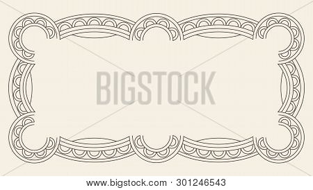 Vintage Ornament Greeting Card Vector Template. Retro Luxury Invitation, Royal Certificate. Flourish
