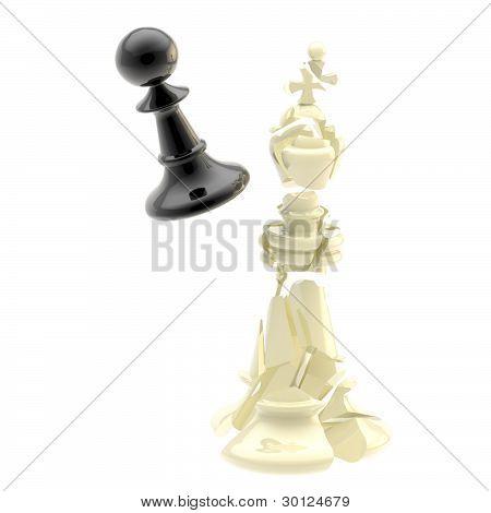 Kollision von zwei schwarzen und weißen Schach Figuren