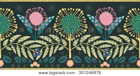 Bohemian Style Border With Pink And Teal Flowers And Leaves. Seamless Geometric Vector Design With G