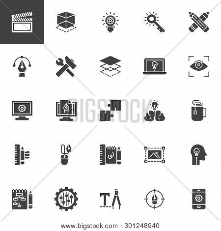 Creative Process Design Vector Icons Set, Modern Solid Symbol Collection, Filled Style Pictogram Pac