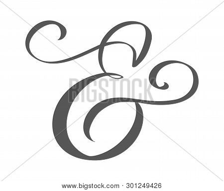 Custom Decorative Ampersand Isolated On White. Hand Written Calligraphy, Vector Illustration. Great