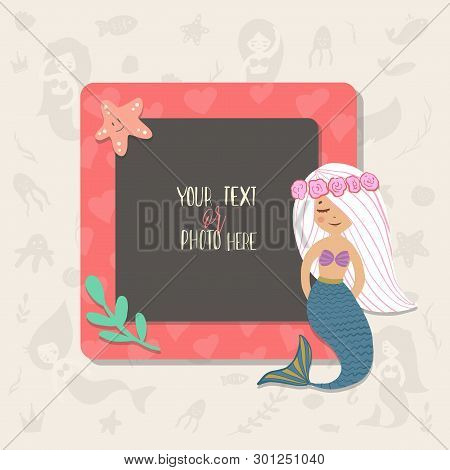 Children Illustration. This Photo Frame You Can Use For Kids Picture, Funny Photos, Card And Memorie