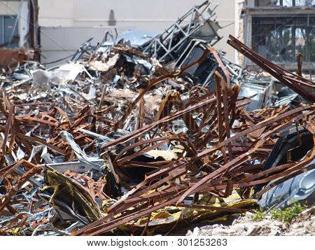 Piles And Piles Of Scrap From A Demolished Mall Get Sorted Before Loading Specific Types To Scrap De