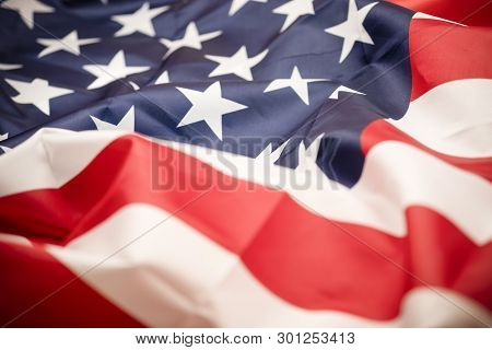 Closeup Tars And Stripes Of United States Of America Or Usa Flag. Usa Are Freedom Land And Independe