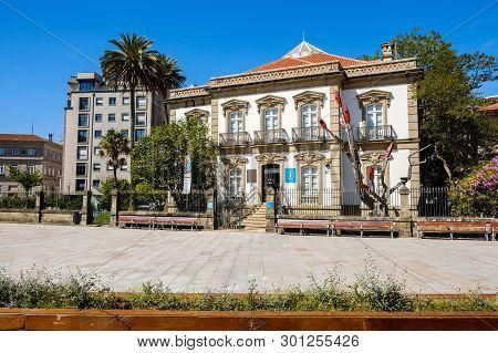 Pontevedra , Spain - May 12, 2019: Exhibition Hall And Information Point In Av. Santa Maria Ponteved