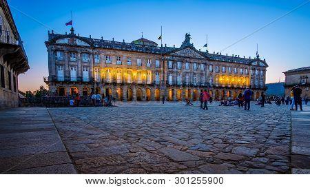 Santiago De Compostela , Spain - May 12, 2019: Tourists And Pilgrims Roam The Streets Where Magnific