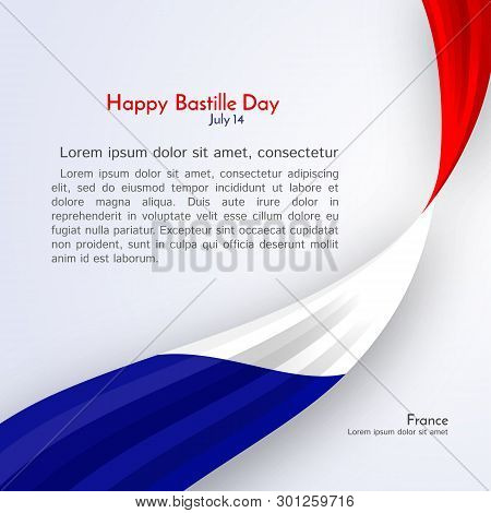 Ribbon Flag Of France And Text Happy Bastille Day On A Light Background Brochure Banner Layout With