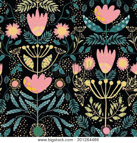 Folk Art Pink, Gold Flowers And Teal Leaves. Paper Cut Out Effect On Leaves. Seamless Vector Half Dr