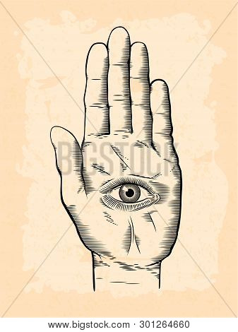 Vector Illustration Of Mystic Hamsa All-seeing Eye In Hand Symbol. Vintage Engraved Style Drawing Wi