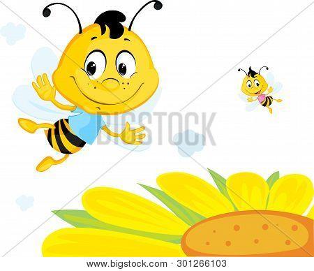 Bee Flies Over Yellow Flower - Cute Vector Cartoon Illustration