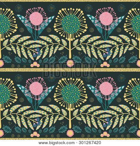 Bohemian Style Pink, Gold Flowers And Teal Leaves. Paper Cut Out Effect On Leaves. Seamless Geometri