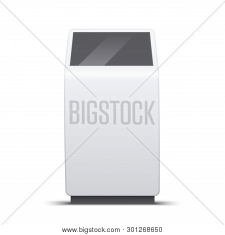 Vector Interactive Information Kiosk. Terminal Vertical White For Indoor And Outdoor Use