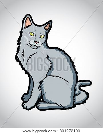 Beautiful Russian Blue, Chartreux, Korat Cat Vector, Cartoon - Vector