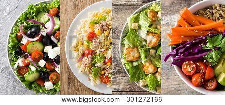 Collage Of Healthy Salad. Greek Salad, Pasta Salad, Caesar Salad And Buddha Bowl On Wood
