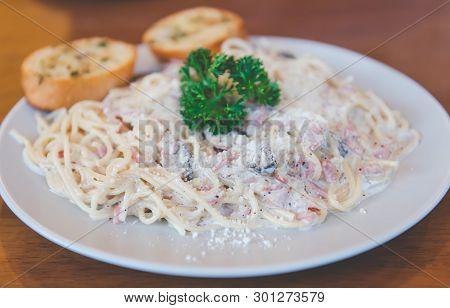Homemade Gourmet Carbonara Spaghetti.