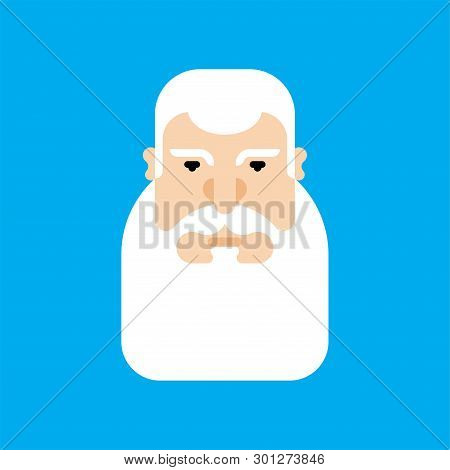 Grandfather Face Isolated. Granddad Head Gray Beard Vector Illustration