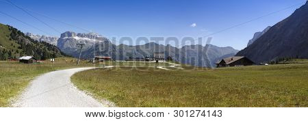 Wonderful View Of The Dolomites - On Background The View Of Sella Mountains With Sass Pordoi And So