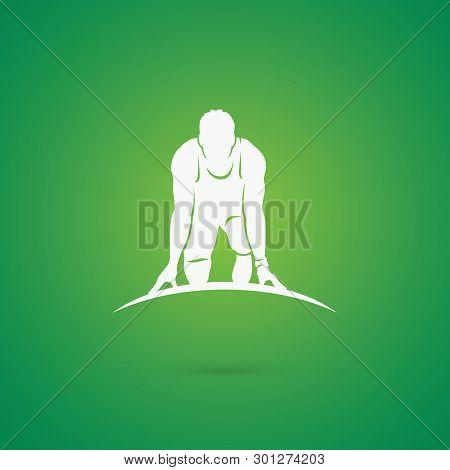 Sprinter At Starting Position - Vector Illustration - Vector