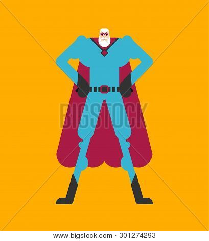 Grandfather Superhero. Super Granddad In Mask And Raincoat. Strong Old Man