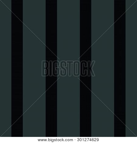 Black On Black Wide Vertical Striped Design. Seamless Geometric Vector Pattern. Great As An Abstract