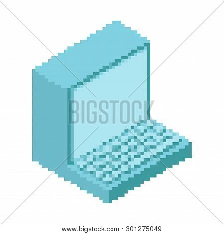 Old Computer Pixel Art. Outdated Pc 8 Bit. Obsolete Technology 16bit. Vector Illustration