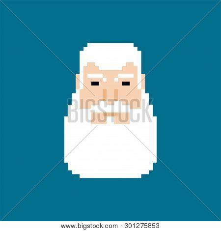 Grandfather Face Pixel Art. Granddad Head 8 Bit. Gray Beard Vector Illustration