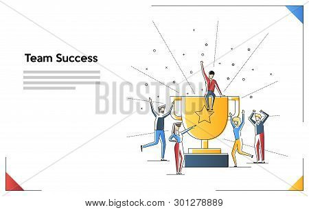 Team Success. Teamwork. Together. Miniature People. Flat Line Art Vector Illustration Isolated On Wh