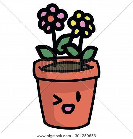 Cute Terracota Pot With Flowers And Kawaii Face Cartoon Vector Illustration Motif Set.