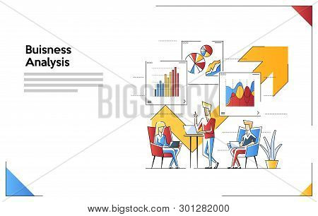 Vector Illustration Of Business And Speaker. Office Workers Are Work On A Laptop. The Analysis Of Th
