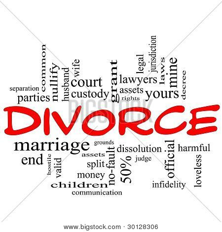 Divorce Word Cloud Concept Scribble In Red