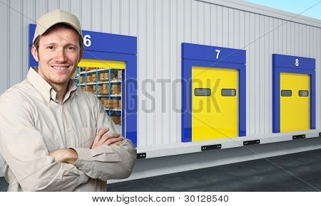 portrait of caucasian smiling young worker