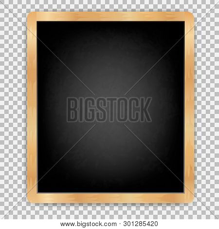 Black Board Vertical With Wooden Frame Rubbed Dirty Board Menu For Cafe And Restaurant. Realistic St