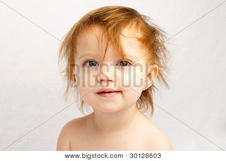 Red Haired Toddler With Messy Hair