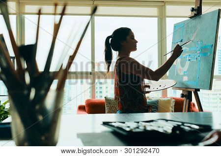People Girl Woman Painting In Lab For Arts Hobby Work