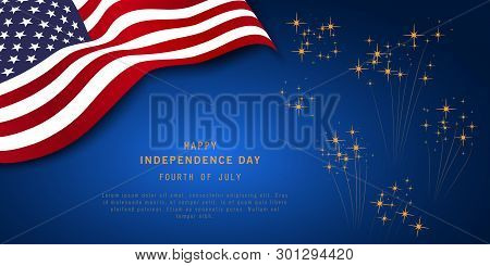 4th Of July Or Independence Day Banner On Navy Blue Background With Fireworks And Usa Flag. Memorial