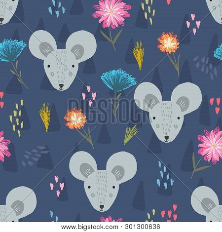 Cute Dark Blue Seamless Pattern With Cartoon Gray Mouse Heads, Colorful Hearts And Childish Flowers.