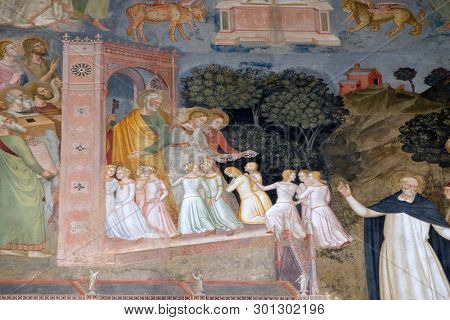 FLORENCE, ITALY - JANUARY 10, 2019: Souls entering into Heaven, detail of the Active and Triumphant Church, fresco by Andrea Di Bonaiuto, Spanish Chapel in Santa Maria Novella church in Florence