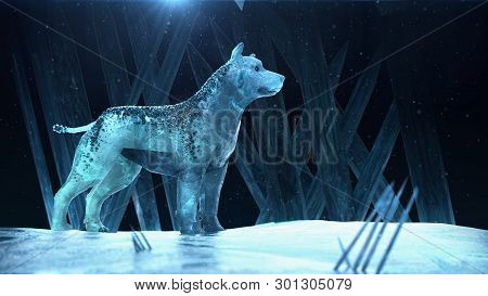 Ice Hound Dog Wolf. Magic Beast Quality 3d Render With Copy Space Fantasy Party Winter Poster Templa