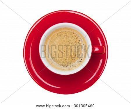 Top View Of Coffee Isolated On White Background