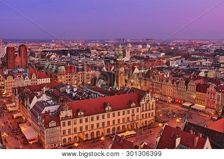 Wroclaw, Poland - March 30, 2019: Aerial View Of The Sunset Of Stare Miasto With Market Square, Old