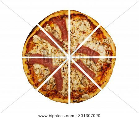 Eight Pieces Of Pizza Isolated On The White Background