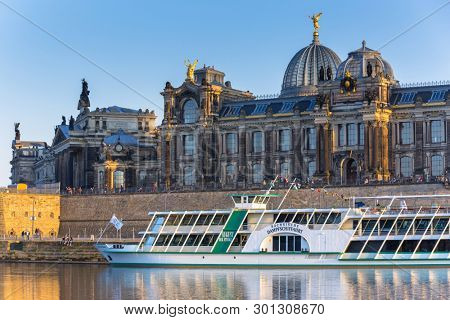 Dresden, Germany - April 19, 2019: Steamship at Elbe River of Dresden, Saxony. Germany