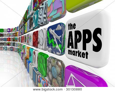 The words App Market on a white application tile in a wall of apps in a store which sells software programs for download to your smart phone or other electronic device
