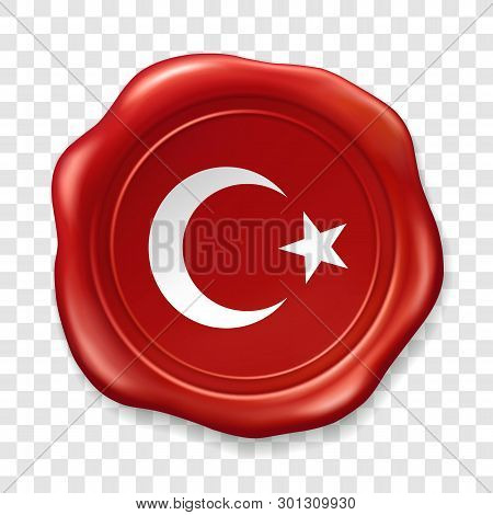 Turkish National Flag With White Star And Moon. Glossy Wax Seal. Sealing Wax Old Realistic Stamp Lab
